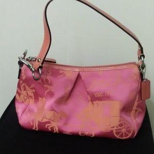 Coach Mini purse pink & orange with horse carriage